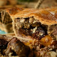 Our mixed game pie - venison, wild pigeon, sausage, rabbit & pheasant with prunes and apricot. Day one on sale... sold out!  Find us and follow us on Twitter: @paramourpieclub & Facebook: fb.com/paramourpieclub #meat #pie #filling #game #food #