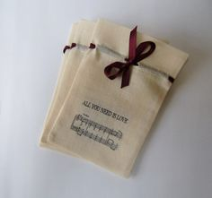 Wedding favor bags,natural cotton calico,6 x 4,set of 30,Beatles Music Favor Bag,All You Need Is Love,Wedding Favor ,Wedding Reception