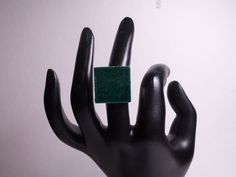 Green Square Ceramic Ring by 50CentRings on Etsy