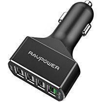 RAVPower Caricabatterie Auto Quick Charge 3.0 Caricatore in Alluminio da 54W con 4 Porte USB