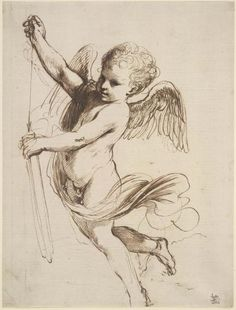 Guercino, Cupid puttng arrow in quiver, pen and brown ink drawing, British Museum Cupid Drawing, Angel Drawing, Tattoo Crane, Art Sketches, Art Drawings, Renaissance Kunst, Image Digital, Ange Demon, Angel Art