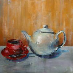 Expressive Art, Acrylics, Still Life, Tea Pots, Etsy Shop, The Originals, Canvas, Modern, Painting