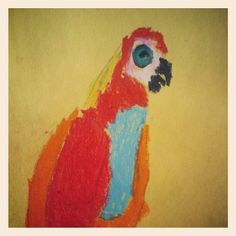 """""""Parrot: Colorful"""" by MJF, age 5"""