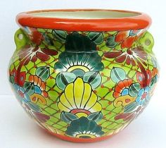 "Mexican talavera pottery ""bean pot"" planter flower pot 