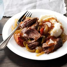 Pressure Cooker Melt-in-Your-Mouth Chuck Roast Recipe -My husband and I like well-seasoned foods, so this slow-cooked recipe is terrific. You'll also love how flavorful and tender this comforting roast turns out. —Bette McCumber, Schenectady, New York Chuck Roast Recipes, Beef Chuck Roast, Meat Recipes, Cooking Recipes, Chuck Steak, Recipies, Chuck Roast In Crockpot, Gourmet, Recipes