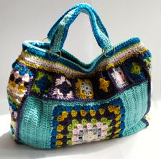 Crochet purse granny square weekend bag