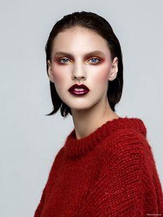Maggie Jablonski by Blake Davenport. Look - Top Zara (On Skin) Pat McGrath Labs Gold 001, OCC Makeup Lip Tar in Black Dahlia Metallic