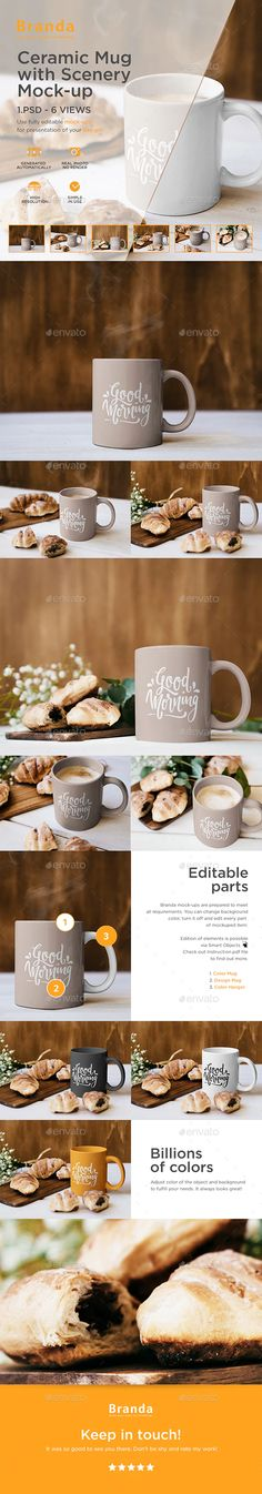 Buy Ceramic Mug with Scenery Mock-up by Branda_Keeps on GraphicRiver. Ceramic Mug with Scenery Mock-up – 6 VIEWS Use fully editable mock-ups for presentation of your design! Mockup Templates, Food Packaging, Your Design, Scenery, Ceramics, Mugs, Kitchen Living, Coffee Cup, Identity