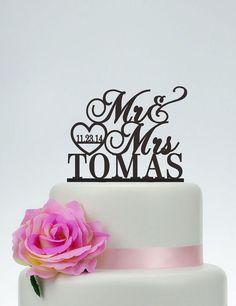 Wedding Cake Topper,Mr and Mrs Cake Topper With Surname,Heart Topper,Custom Cake Topper,Personalized Cake Topper,Rustic Cake Topper C079