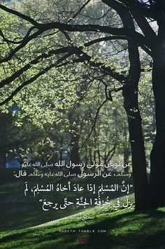 """عن ثوبان مولى رسول الله صلى الله عليه وسلم، عن الرسول صلى الله عليه وسلم قال: """"إنَّالمُسْلِمَإذا عادَ أخاهُالمُسْلِمَ، لَم يزلْ في خُرْفَةِ الجنَّةِ حتَّى يرجعَ"""" صحيح مسلم"""
