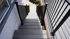 Iron Prefabricated Adjustable Stair Panel by Fortress Metal Deck Railing, Deck Railing Systems, Steel Railing, Stair Panels, Metal Panels, Handrail Brackets, Stainless Steel Cable, Panel Systems, Easy Install