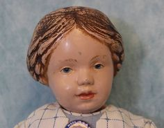 "Rare 14.5"" American Wooden Character Doll 102 Schoenhut with Carved Hair c.1915"