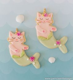 Unicorn mermaid cat cookies by Patricia Arribálzaga