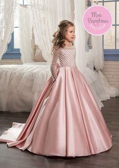 ece3b6e1447c This chic Toronto flower girl dress is a long satin ball gown for vintage- inspired