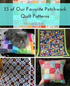 This collection of some of our best free quilt patterns is perfect for quilters who love piecing and patchwork. 33 of Our Favorite Patchwork Quilt Patterns is a round-up of patchwork quilt how-tos that will keep you busy piecing for hours! Charm Pack Quilt Patterns, Charm Pack Quilts, Patchwork Quilt Patterns, Quilt Patterns Free, Quilting Projects, Sewing Projects, Fat Quarter Quilt, Applique, Easy Quilts