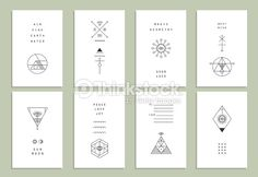 Vector Art : Set of trendy cards with geometric icons. Alchemy symbols collection.