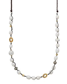 Fresh Outlook Necklace $139 (N3116) brass, pearl, pyrite, and .925 sterling silver on knotted cord https://mysilpada.com/shop/product/fresh-outlook-necklace-N3116