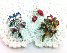 Two alike, Vintage Bell Brooches, colorful holiday jewelry, leaves & bows. on Etsy, $20.00