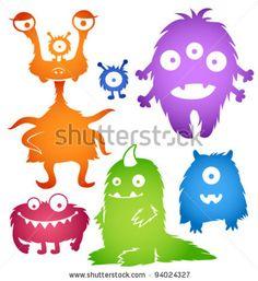 stock vector : Vector cartoon cute monsters