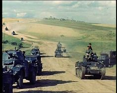 German World War 2 Colour Panzer 38t Armoured Cars Travelling In Russia
