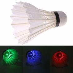 Hot 4 sztuk/partia ciemna noc kolorowe led goose feather wolant badminton badminton lotki outdoor sports ball freeship