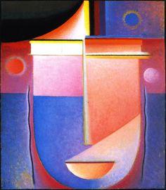 Abstract hoofd: Innerlijke blik, rose licht ~ Olieverf op karton ~ 42,8 x 32,8 cm. ~ Particuliere verzameling