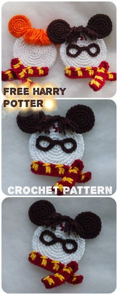 Projects Harry Potter Harry Potter and Ron Weasley Mouse crochet pattern Crochet Home, Crochet Crafts, Crochet Projects, Free Crochet, Crochet Mickey Mouse, Crochet Disney, Double Crochet, Single Crochet, Crochet Applique Patterns Free