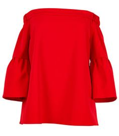 Tibi: Red Lantern Sleeve Top