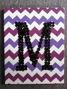 Chevron art, initial button art, canvas art, purple chevron, M