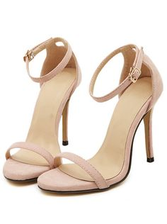 Nude Stiletto High Heel Ankle Strap Sandals                                                                                                                                                                                 More