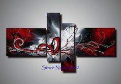 100 % met de hand geschilderd 4 panelen kunst aan de muur abstracte canvas het schilderen van rode kleur wit