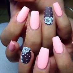 Pink tapered square nails with accent nail