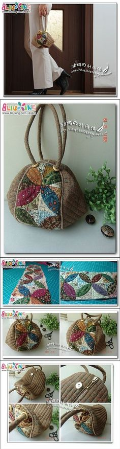 Add the third adjoining strap and you have a shoulder bag! Japanese Patchwork, Japanese Bag, Patchwork Bags, Quilted Bag, Fabric Purses, Fabric Bags, Handmade Purses, Craft Bags, Purse Patterns