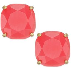 kate spade new york Square Stud Earrings ($38) ❤ liked on Polyvore featuring jewelry, earrings, geranium, square earrings, kate spade jewelry, kate spade earrings, kate spade and colorful stud earrings