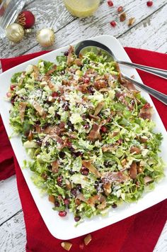 Festive, fun, and fresh describe my Christmas salad perfectly! This beautiful salad makes a perfect side dish to just about anything you'll be serving this holiday – it's full of flavor and texture and it's light, but filling. Plus, it can be made completely ahead of time!