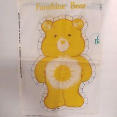"Vintage Care Bear "" Funshine Bear"" Fabric Doll Panels by NewAgain on Etsy"