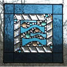 Steel Blue Border Wave Stained Glass Window Panel by Edel Byrne Stained Glass Angel, Faux Stained Glass, Stained Glass Designs, Stained Glass Projects, Stained Glass Patterns, Leaded Glass, Stained Glass Windows, Mosaic Glass, Glass Door