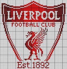 Liverpool FC Basics: This piece measures squares. I find it best to cut the fabric at least three inches larger than the design, and at least five inches larger if you're using a Q-Snap frame. Design size on: 14 ct: 6 inches wide and 6 inches hi Liverpool Bird, Liverpool Logo, Cross Stitching, Cross Stitch Embroidery, Logo Club, Pinterest Cross Stitch, Disney Crochet Patterns, Knitting For Charity, Crochet Chart