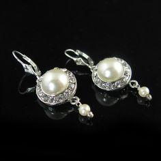Vintage inspired button earrings  ivory earrings rhinestone button earrings bridal jewelry bridal earrings, pearl earrings