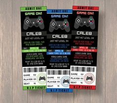 Video Game Invitation - Video Game Birthday Party - Game Truck - Gamer - Video Game Ticket - Xbox Party - Playstation Party, Boy Invitation