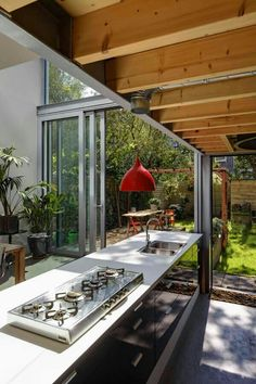 Kitchen with big Windows, you feel as if the nature outside is part of your house.