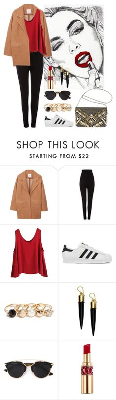 """""""Red"""" by music0blivion ❤ liked on Polyvore featuring MANGO, Heidi Klum Intimates, WithChic, adidas, GUESS, FOSSIL, Christian Dior, Yves Saint Laurent, Avenue and women's clothing"""