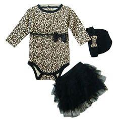 ZOEREA 3 PCS Neugeborenes Baby Hat + Rock + Spielanzug-Outfit Kleidung-Ballettröckchen-Kleid-Sommer-Set Leopard Bowknot Bänder (0-24M)