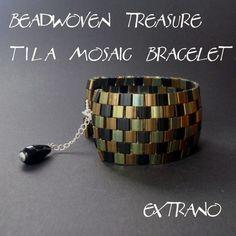 TUTORIAL  Beadwoven Treasure  Tila Mosaic Bracelet and by Extrano, $5.00