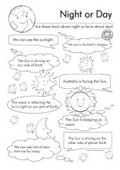 5th grade Science Worksheets: Night here, day there