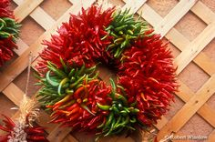 images of new mexican christmas | Chili Pepper Wreath, Holiday Shop Display, Santa Fe, New Mexico ...