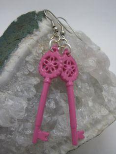 Hot Pink Key Earrings by GoosesGoldenEggs on Etsy, $5.00