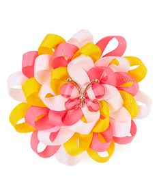Look what I found on #zulily! Yellow & Pink Totally Spring Boutique Hair Bow #zulilyfinds