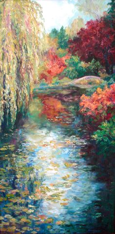 Reserved for Lynn Harvey Original Oil Paintings Impressionist Diptych Willow Tree, Butchart Garden, Fall Colors,Water Bridge,Shirin Mackeson