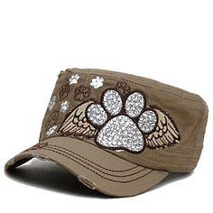 Dog Paw Bling Angel Paws Baseball Cap Hat Cap Cadet Military Style Women  Khaki  2a2dce978f46